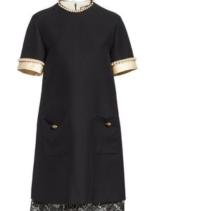 GUCCI Woman pearl-embellished shift dress size 2